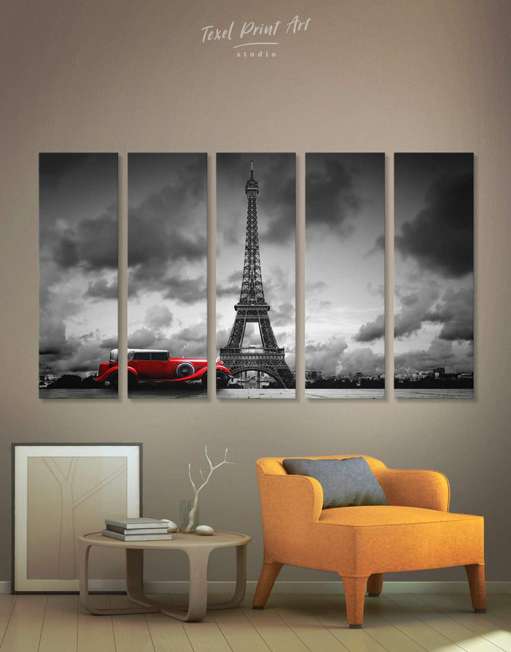 5 Panels Majestic Eiffel Tower Wall Art Canvas Print - 5 panels bedroom Black eiffel tower wall art french wall art