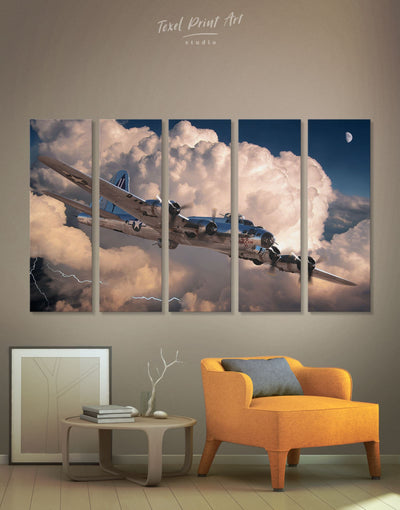 5 Panels Military Aircraft Wall Art Canvas Print - 5 panels airplane wall art bachelor pad Hallway Living Room