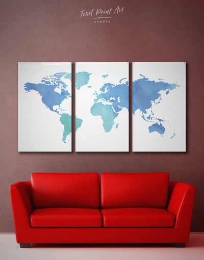 5 Panels Minimalistic World Map Wall Art Canvas Print - 5 panels Abstract map bedroom Blue blue wall art for bedroom