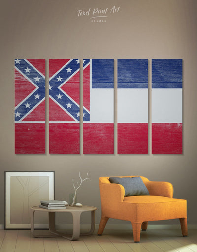 5 Panels Mississippi Flag Wall Art Canvas Print - Canvas Wall Art 5 panels blue flag wall art Hallway Living Room