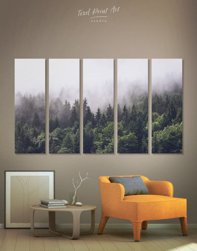 5 Panels Misty Forest Wall Art Canvas Print - 5 panels bedroom forest wall art Hallway landscape wall art