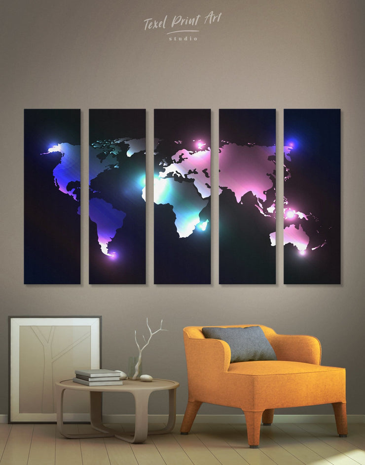 5 Panels Modern World Map Wall Art Canvas Print - 5 panels Abstract Abstract map bedroom black