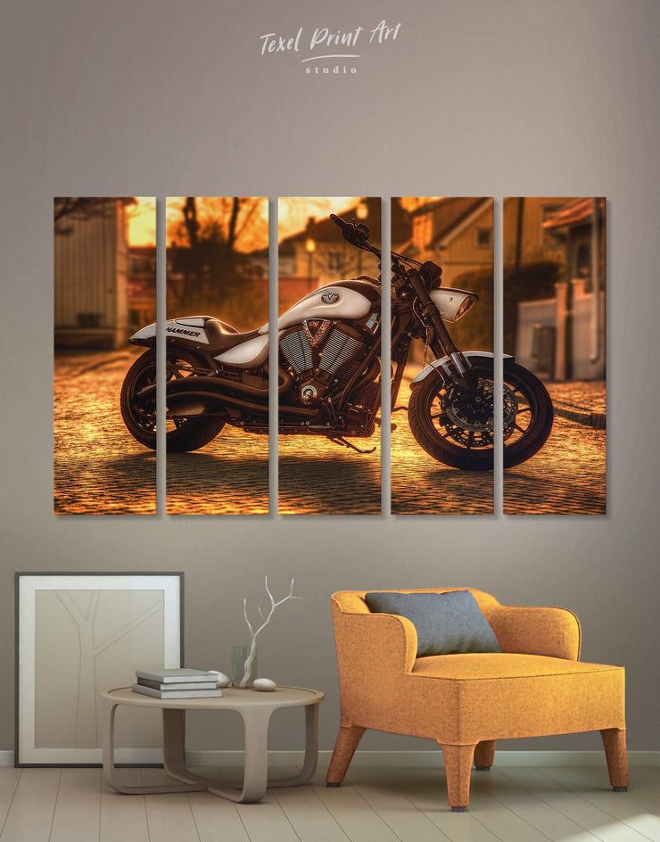 5 Panels Motorbike Wall Art Canvas Print - 5 panels bachelor pad bedroom Hallway inspirational wall art