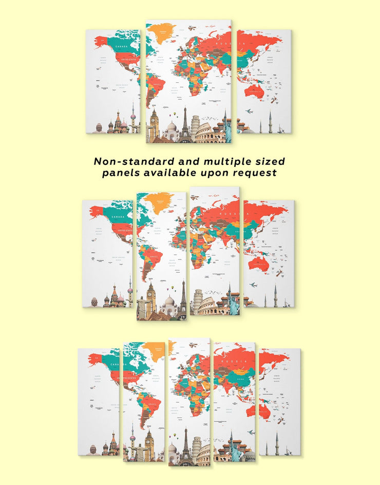 5 Panels Multicolor World Map Wall Art Canvas Print - 5 panels Abstract Abstract map bedroom Contemporary