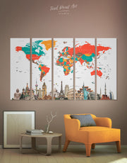 5 Panels Multicolor World Map Wall Art Canvas Print
