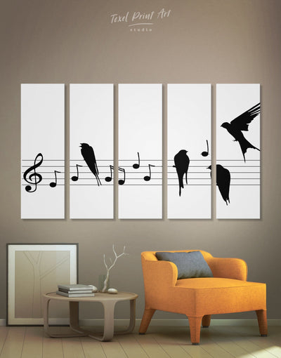 5 Panels Music Sheet Wall Art Canvas Print - 5 panels bedroom Black black and white wall art Hallway