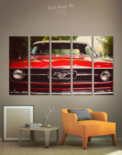 5 Panels Mustang Sports Car Wall Art Canvas Print - 5 panels bachelor pad Car garage wall art Hallway