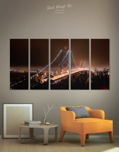 5 Panels Night Golden Gate Bridge Wall Art Canvas Print - 5 panels bedroom Bridge Golden Gate bridge wall art Living Room