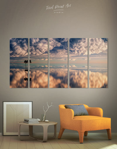 5 Panels Ocean and Clouds Wall Art Canvas Print - Canvas Wall Art 5 panels Beach House bedroom Hallway Living Room
