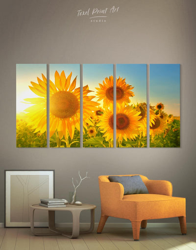 5 Panels Orange Flowers Wall Art Canvas Print - Canvas Wall Art 5 panels bedroom flora Floral flower