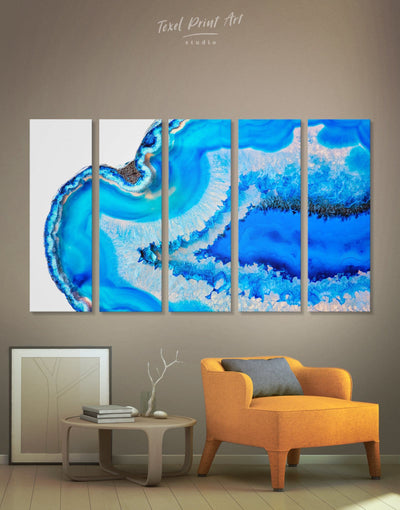 5 Panels Original Geode Wall Art Canvas Print - 5 panels Abstract bedroom blue blue and white