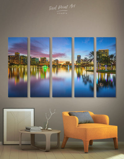 5 Panels Orlando City Wall Art Canvas - 5 panels bedroom City Skyline Wall Art Cityscape Dining room