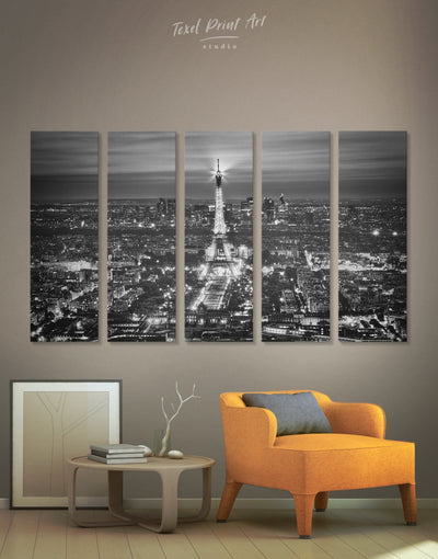 5 Panels Paris Cityscape Wall Art Canvas Print - 5 panels bedroom black and white wall art Cityscape eiffel tower wall art