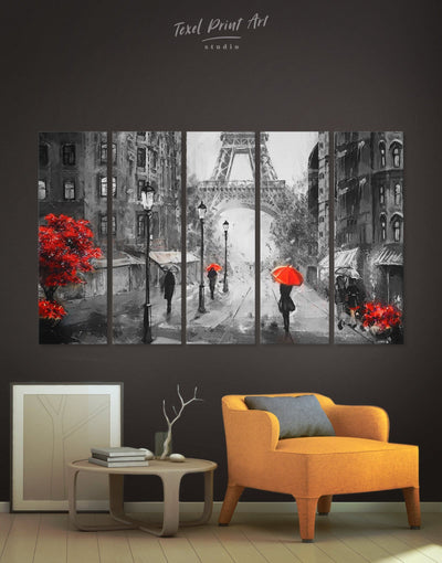 5 Panels Paris Fine Wall Art Canvas Print - 5 panels eiffel tower wall art french wall art inspirational wall art living room wall art