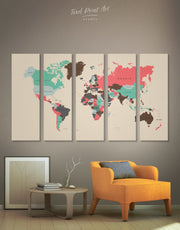 5 Panels Pastel Colors World  Map Wall Art Canvas Print