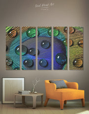 5 Panels Peacock Feather with Drops Wall Art Canvas Print