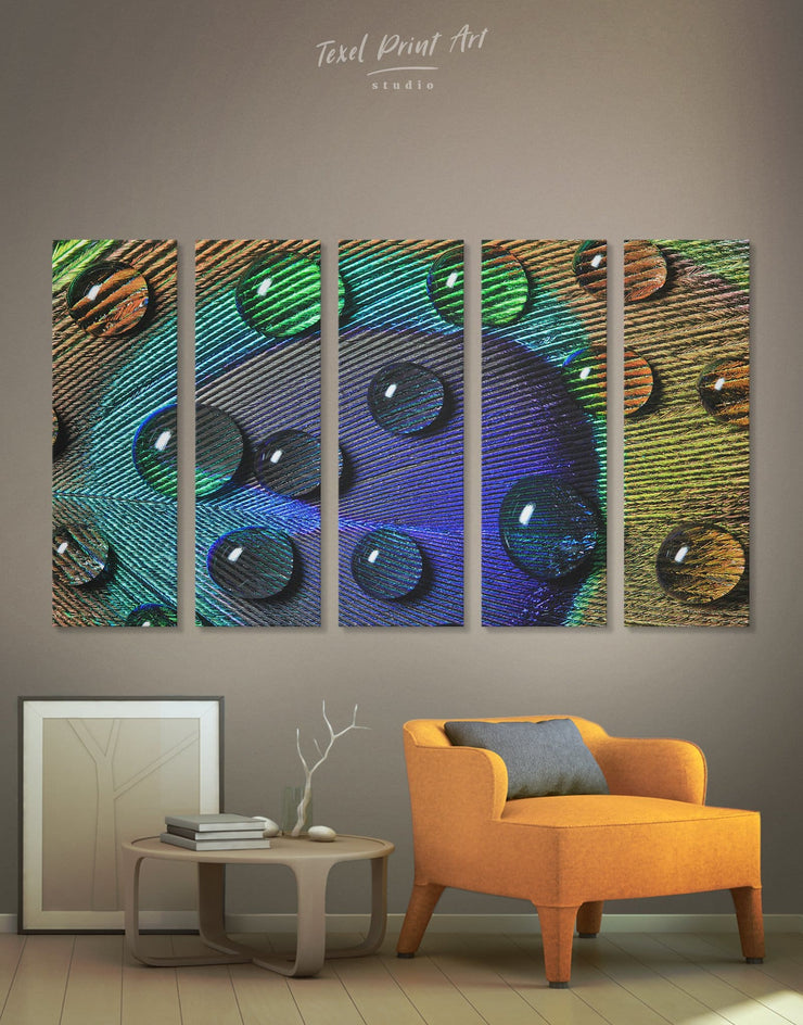 5 Panels Peacock Feather with Drops Wall Art Canvas Print - 5 panels Abstract bedroom Blue blue and green wall art