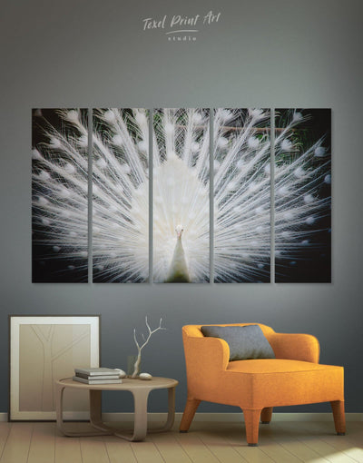 5 Panels Peacock Wall Art Canvas Print - 5 panels Abstract bedroom Living Room living room wall art