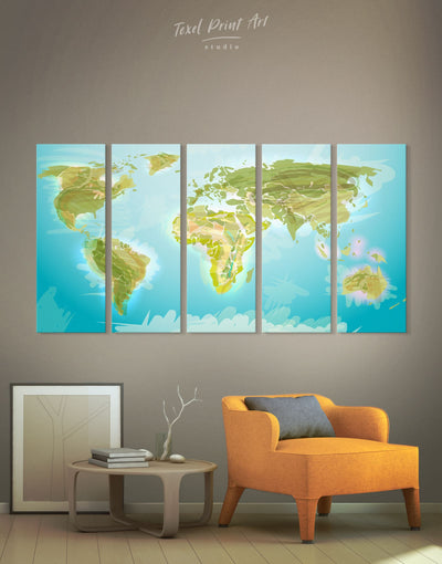 5 Panels Physical World Map Wall Art Canvas Print - 5 panels Abstract map Blue corkboard Green