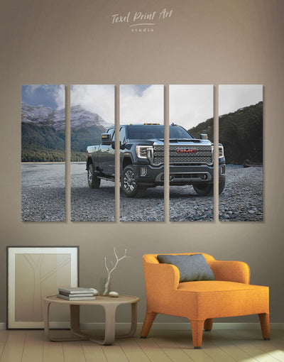 5 Panels Pickup Truck Wall Art Canvas Print - 5 panels bachelor pad Car garage wall art Hallway