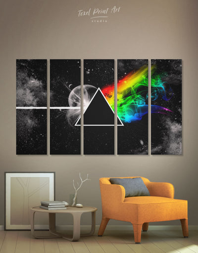 5 Panels Pink Floyd Rock Band Wall Art Canvas Print - 5 panels Abstract bedroom Black Living Room