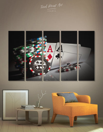 5 Panels Poker Wall Art Canvas Print - 5 panels game room Hallway Living Room Poker