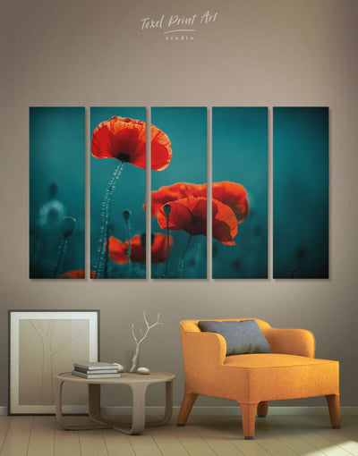 5 Panels Poppy Wall Art Canvas Print - 5 panels bedroom Blue Dining room flora