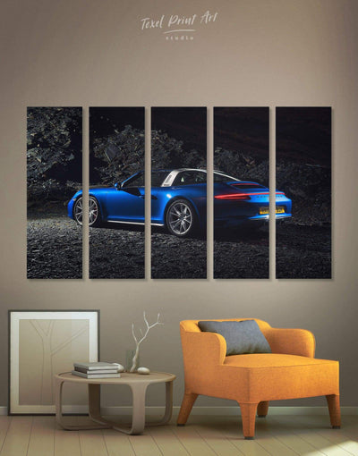5 Panels Porche Wall Art Canvas Print - 5 panels bachelor pad car garage wall art Living Room