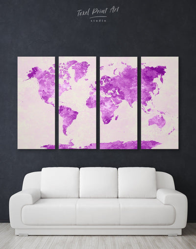 5 Panels Purple World Map Wall Art Canvas Print - 5 panels Abstract Abstract map bedroom Living Room