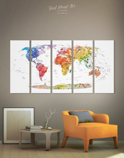 5 Panels Push Pin Travel Map Wall Art Canvas Print - 5 panels bedroom contemporary wall art map of the world labeled modern wall art