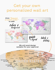 5 Panels Push Pin World Map Wall Art Canvas Print