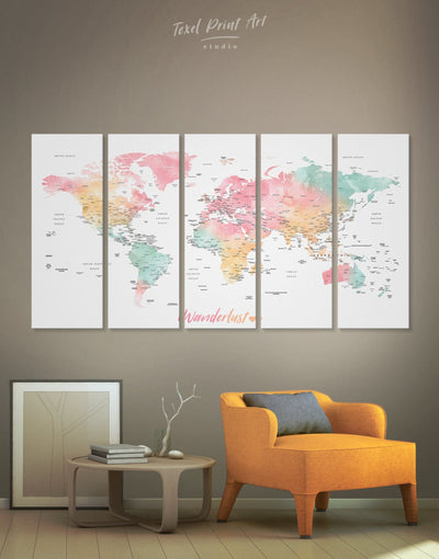 5 Panels Push Pin World Map Wall Art Canvas Print - 5 panels bedroom Bright colored contemporary wall art Living Room