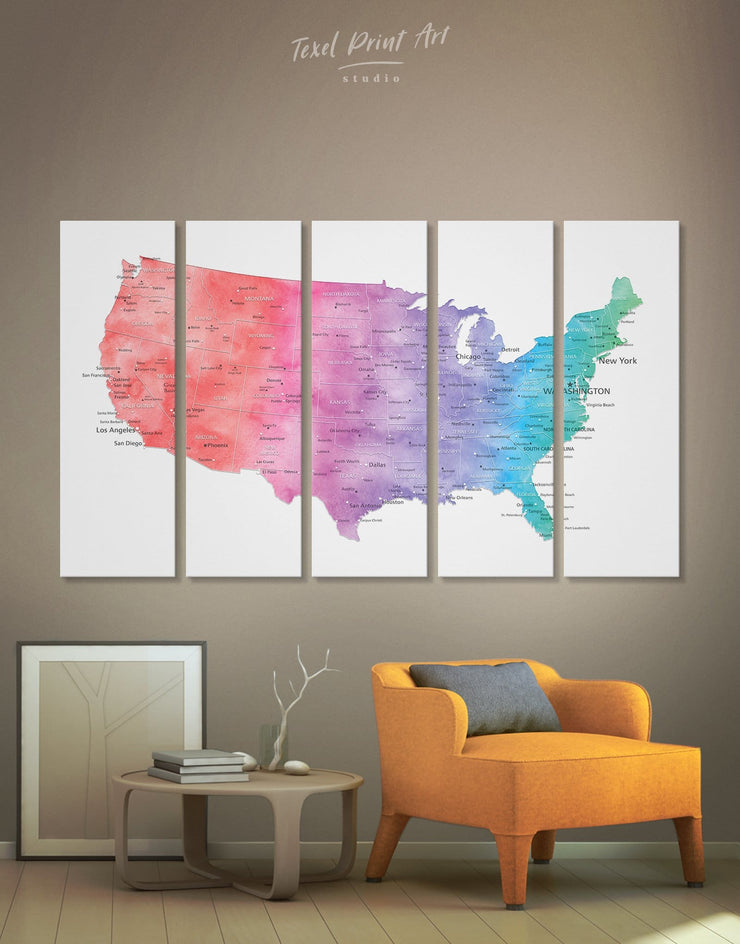 5 Panels Pushpin Colorful Map Wall Art Canvas Print - 5 panels bedroom Blue blue and white contemporary wall art