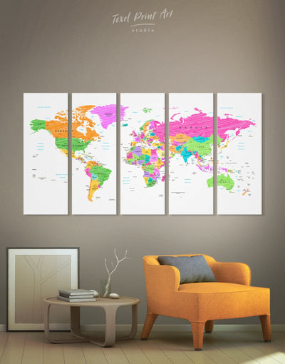 5 Panels Pushpin World Map Wall Art Canvas Print - 5 panels bedroom Blue wall art for living room contemporary wall art map of the world