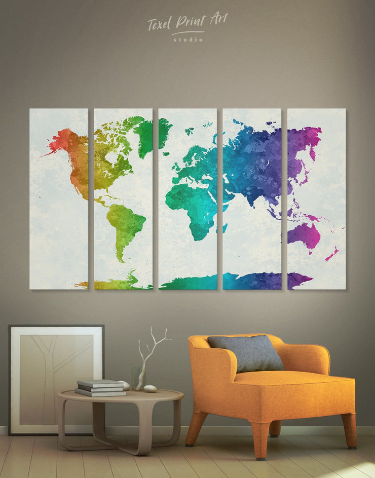 5 Panels Rainbow Abstract Map Wall Art Canvas Print - 5 panels Abstract map abstract world map wall art bedroom Living Room