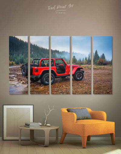5 Panels Red Jeep Wall Art Canvas Print - 5 panels bachelor pad Car garage wall art wall art for men