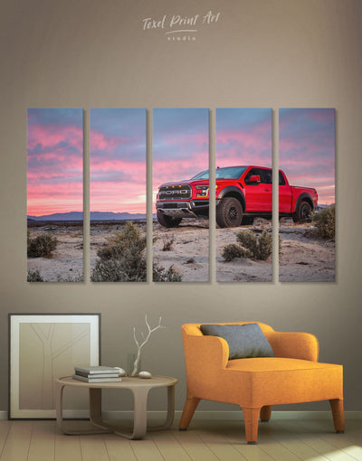 5 Panels Red Raptor Car Wall Art Canvas Print - 5 panels bachelor pad Car garage wall art Hallway