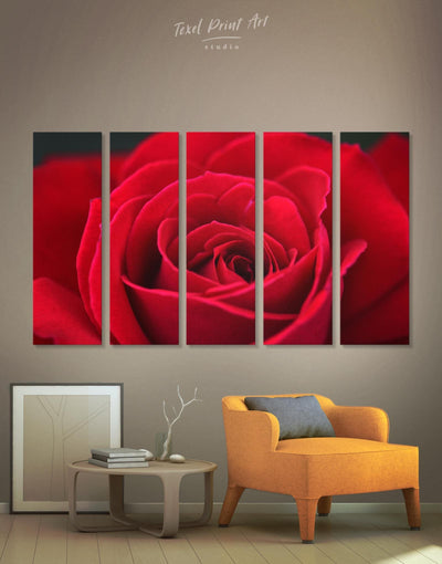 5 Panels Red Rose Wall Art Canvas Print - Canvas Wall Art 5 panels bedroom flora Floral flower