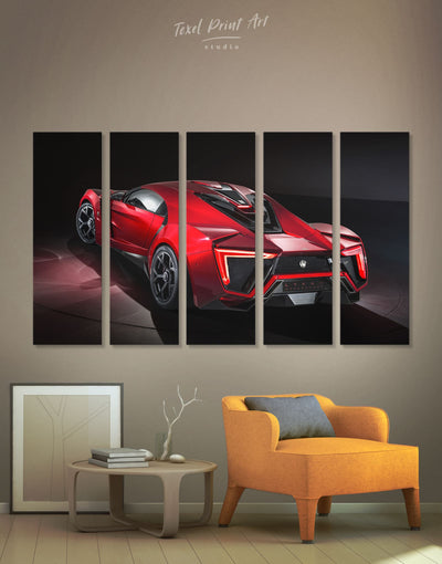 5 Panels Red Sports Car Lykan Hypersport Wall Art Canvas Print - 5 panels bachelor pad Car garage wall art Hallway
