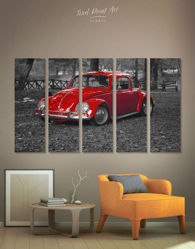 5 Panels Retro Beetle Car Wall Art Canvas Print - 5 panels bachelor pad car garage wall art Grey