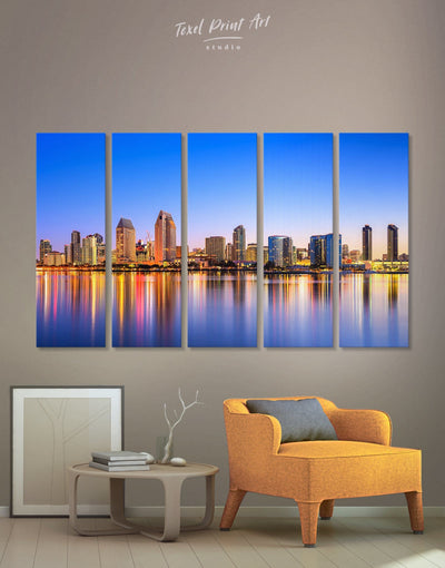 5 Panels San Diego Wall Art Canvas Print - 5 panels bedroom City Skyline Wall Art Cityscape dining room wall art