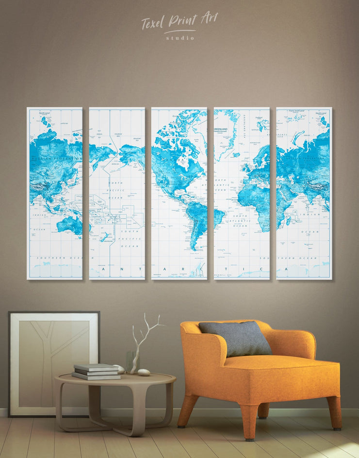 5 Panels Sapphirine World Map Wall Art Canvas Print - 5 panels bedroom Blue blue and white Blue Wall Art