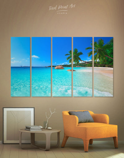 5 Panels Seaside Beach Wall Art Canvas Print - 5 panels beach wall art bedroom Blue blue wall art for bedroom