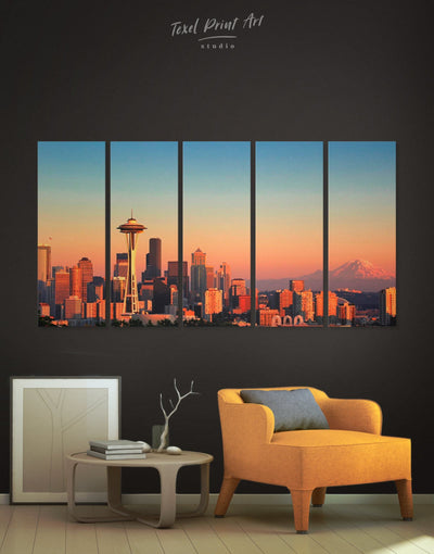 5 Panels Seattle City Wall Art Canvas Print - 5 panels bedroom Blue City Skyline Wall Art Cityscape