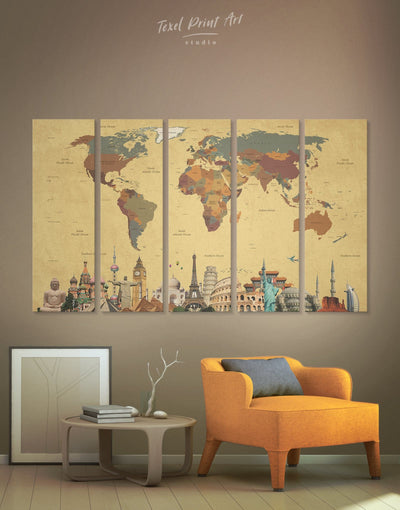 5 Panels Sightseeing World Map Wall Art Canvas Print - 5 panels Abstract Abstract map bedroom Brown