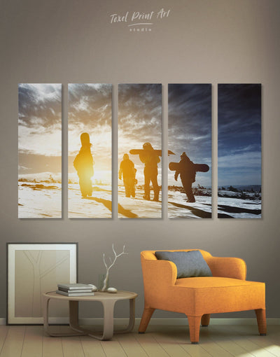 5 Panels Snowboarding Wall Art Canvas Print - 5 panels inspirational wall art Motivational Nature snowboarding wall art
