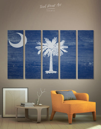 5 Panels South Carolina State Flag Wall Art Canvas Print - 5 panels blue flag wall art Hallway Living Room