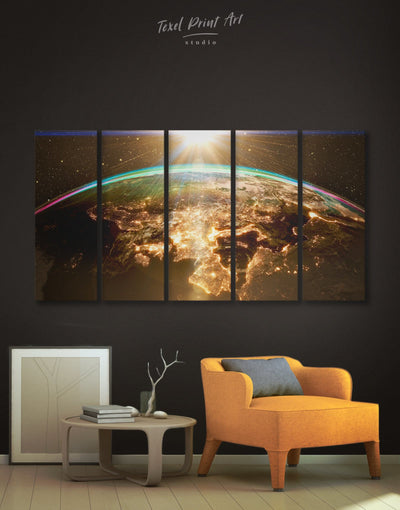 5 Panels Space World Wall Art Canvas Print - 5 panels Hallway Living Room Office Wall Art space canvas wall art
