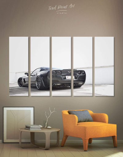 5 Panels Sports Car Wall Art Canvas Print - 5 panels bachelor pad black and grey wall art black and white wall art car