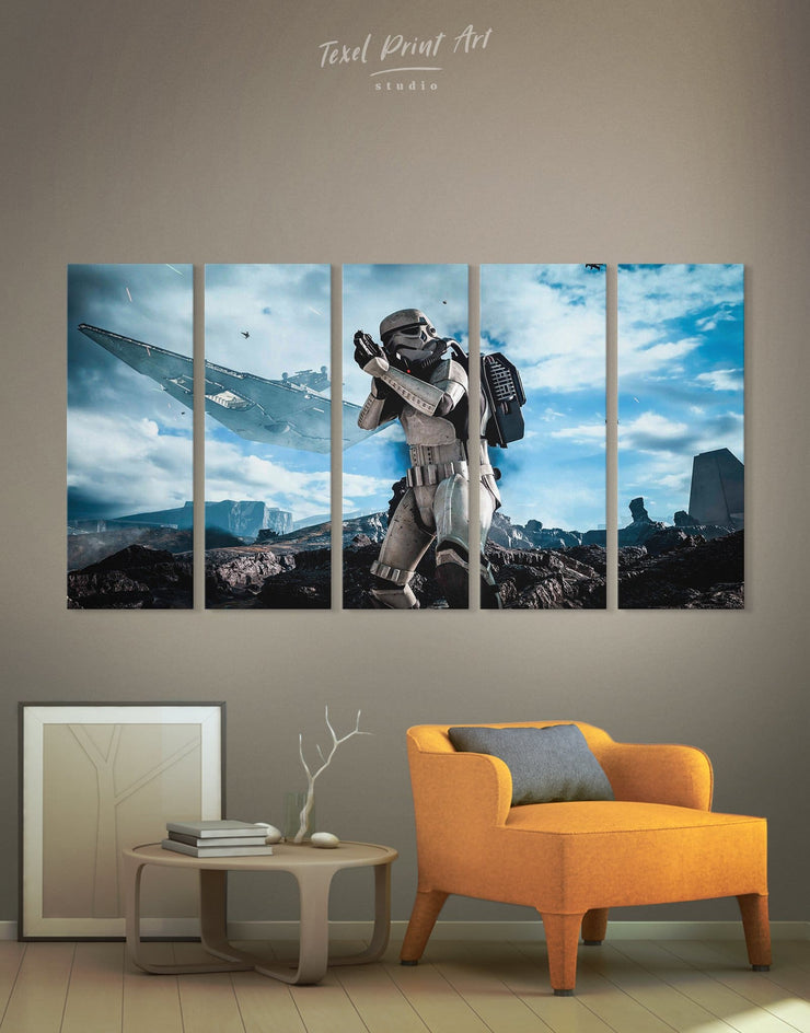 5 Panels Star Wars Wall Art Canvas Print - 5 panels bachelor pad bedroom Black Blue